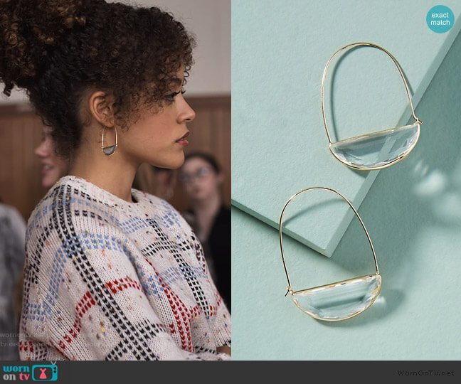 Large Stone Crescent Hoop Earrings by Anthropologie worn by Tabitha Foster (Quintessa Swindell) on Trinkets