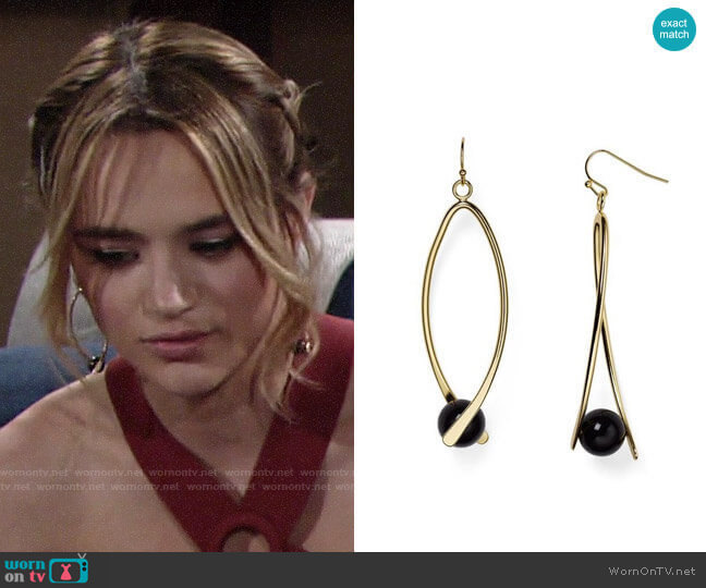 Aqua Kylie Linear Drop Earrings worn by Summer Newman (Hunter King) on The Young & the Restless