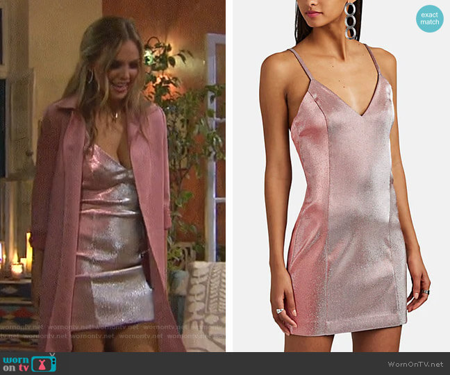 Cotton-Blend Lamé Slipdress by Area worn by Hannah Brown  on The Bachelorette