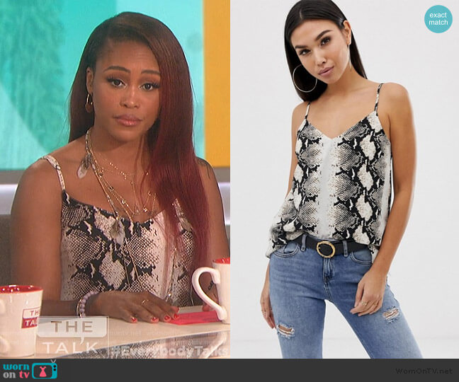 Snake Animal Print Cami by ASOS worn by Eve  on The Talk
