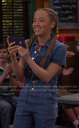 Ava's button front denim jumpsuit on Bunkd