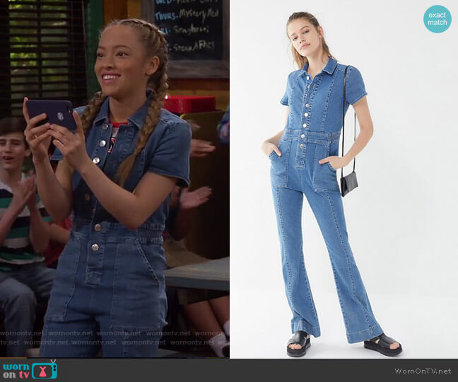 70s Denim Collared Button-Front Jumpsuit by BDG worn by Ava (Shelby Simmons) on Bunkd