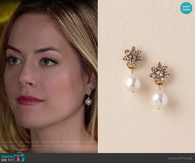 BHLDN Whitley Drop Earrings worn by Hope Logan (Annika Noelle) on The Bold & the Beautiful