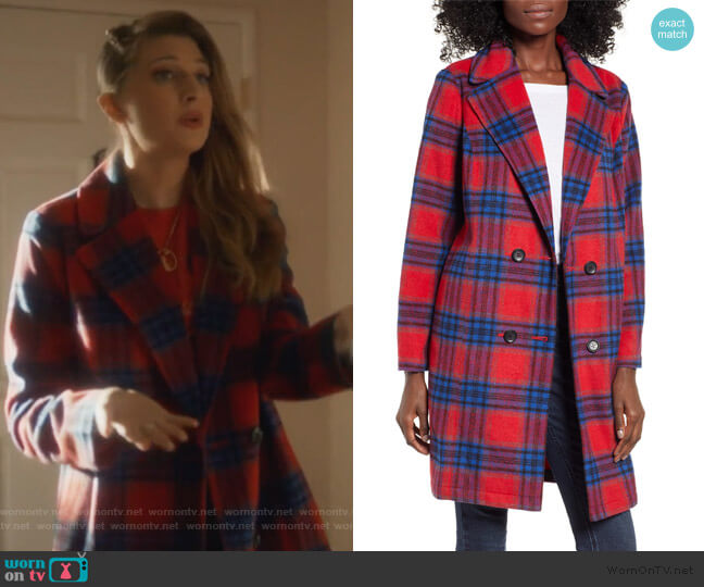 Plaid Double Breasted Coat by BP worn by Nomi Segal (Emily Arlook) on Grown-ish