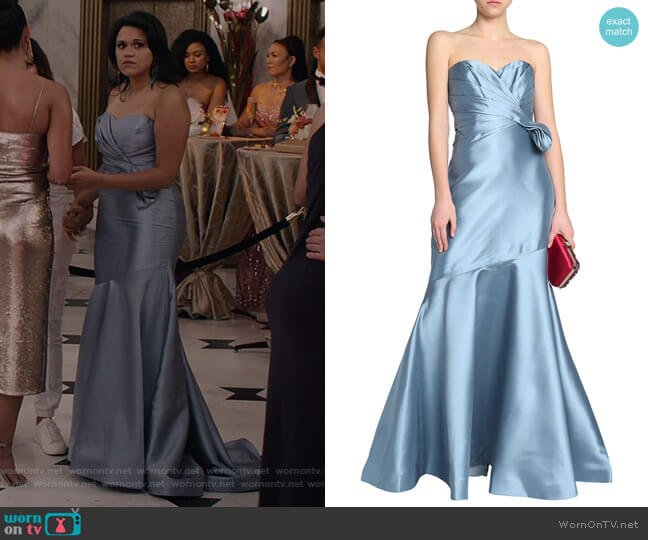 Strapless Side-Bow Gown by Badgley Mischka worn by Yoli (Justina Adorno) on Grand Hotel