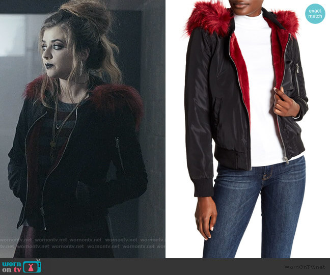 Faux Fur Trim Hooded Bomber Jacket by Bagatelle worn by Beth (Giorgia Whigham) on Scream