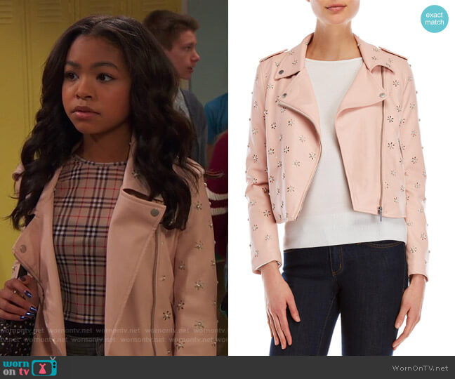 Embellished Moto Jacket by Bagatelle   worn by Nia Baxter (Navia Robinson) on Ravens Home