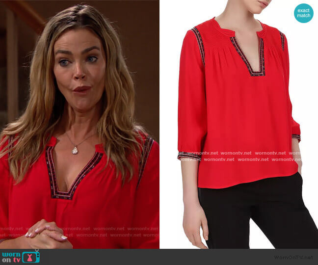ba&sh Cime Embroidered Top worn by Shauna Fulton (Denise Richards) on The Bold & the Beautiful