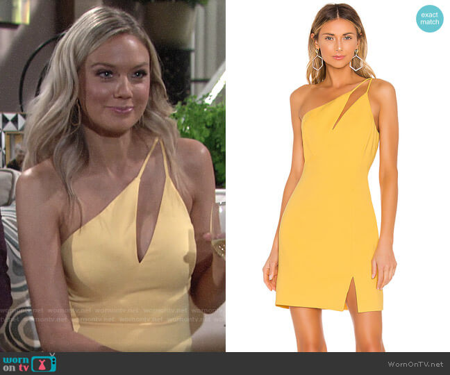 Bcbgmaxazria One Shoulder Cutout Dress worn by Abby Newman (Melissa Ordway) on The Young & the Restless