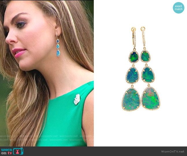 Black Opal & Diamond Halo Dangle Earring by Dilamani worn by Hannah Brown  on The Bachelorette
