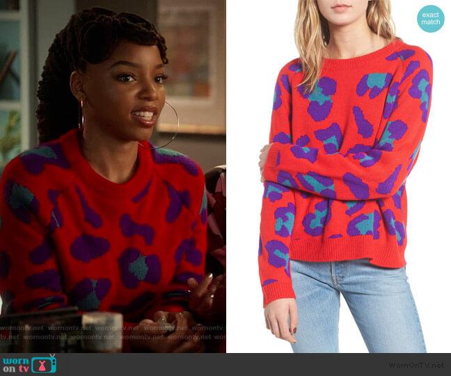 Leopard Intarsia Sweater by BlankNYC worn by Jazlyn Forster (Chloe Bailey) on Grown-ish