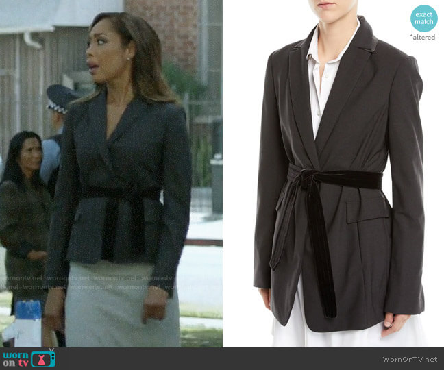 Brunello Cucinelli Long Lightweight Wool Blazer Jacket with Velvet Belt worn by Jessica Pearson (Gina Torres) on Pearson