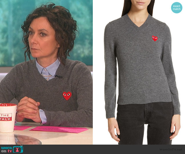 Heart Wool Pullover by Comme Des Garcons Play worn by Sara Gilbert  on The Talk