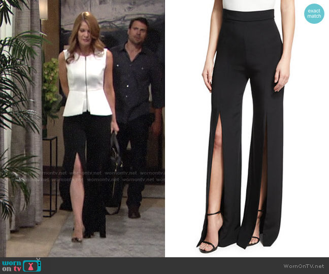 Cushnie Slit-Front Crepe High-Waist Pants worn by Phyllis Summers (Michelle Stafford) on The Young & the Restless