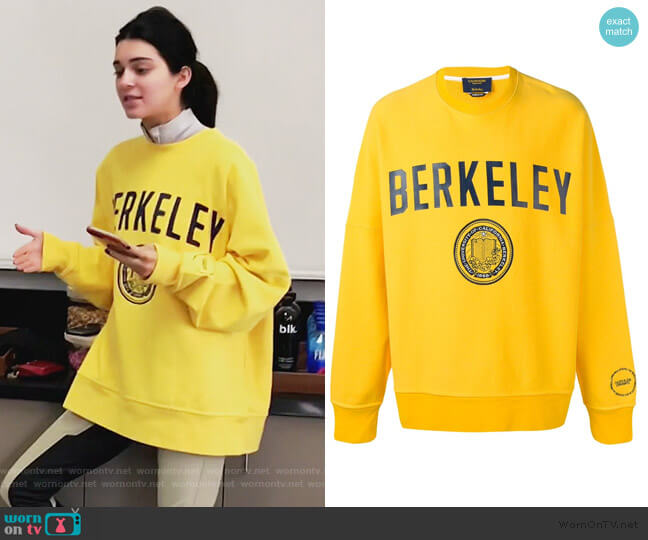 Berkeley Printed Sweatshirt by Calvin Klein worn by Kendall Jenner  on Keeping Up with the Kardashians