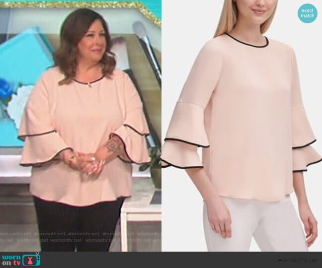 Contrast-Trim Bell-Sleeve Blouse by Calvin Klein worn by Carnie Wilson on The Talk