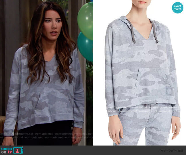 Vintage Havana Camo Terry Hooded Sweatshirt worn by Steffy Forrester (Jacqueline MacInnes Wood) on The Bold & the Beautiful