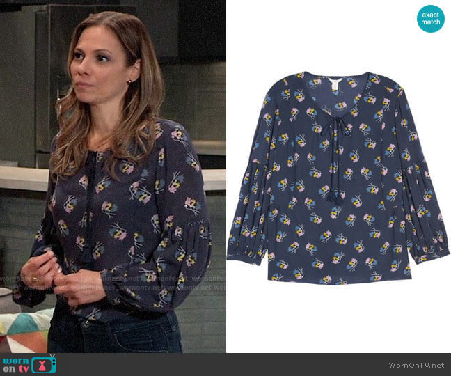 Caslon Long Sleeve Printed Tassel Blouse  worn by Kim Nero (Tamara Braun) on General Hospital