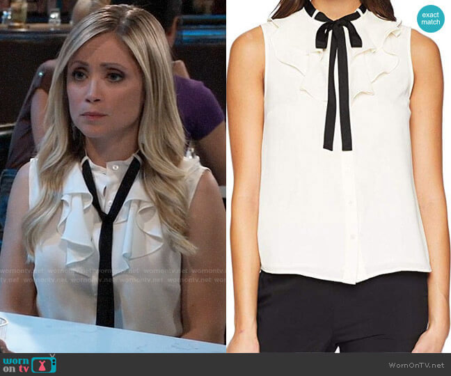 Cece Sleeveless Ruffled Top with Tie worn by Lulu Spencer Falconeri (Emme Rylan) on General Hospital