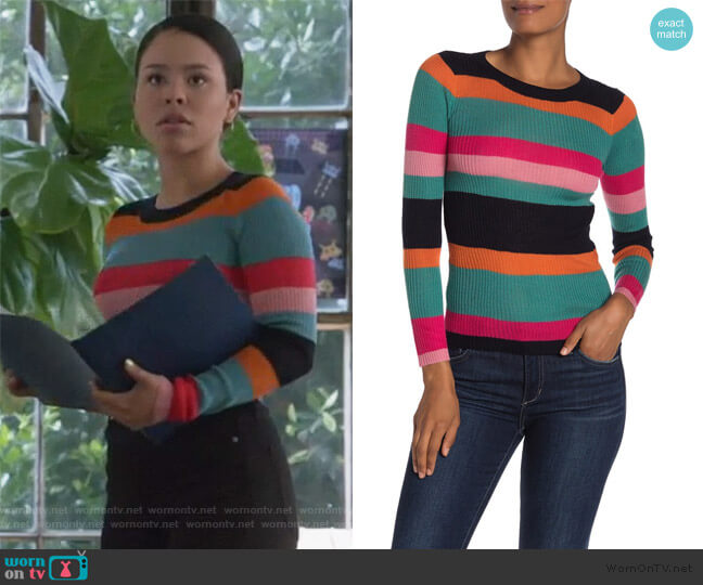 Striped Rib Knit Sweater by Cotton Emporium worn by Mariana Foster (Cierra Ramirez) on Good Trouble