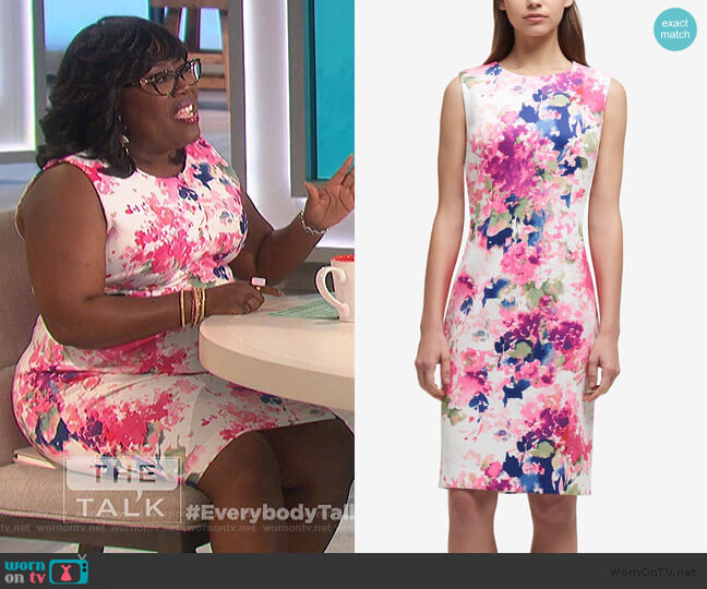 Printed Scuba Sheath Dress by DKNY worn by Sheryl Underwood  on The Talk