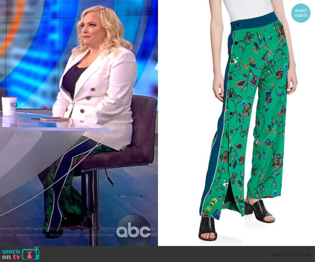 Floral-Print Track Pant with Side-Snap Detail by Derek Lam 10 Crosby worn by Meghan McCain  on The View