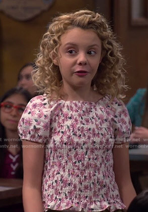 Destiny's white floral smocked top on Bunkd