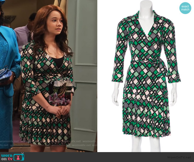 Shilo Silk Wrap Dress by Diane von Furstenberg worn by Jade (Talia Jackson) on Family Reunion