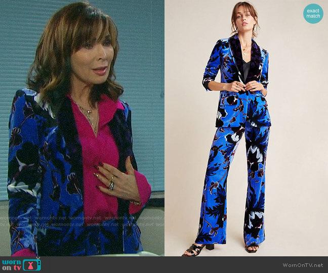 Diane von Furstenberg Velvet Tommy Blazer and Erica Trousers worn by Kate Roberts (Lauren Koslow) on Days of our Lives