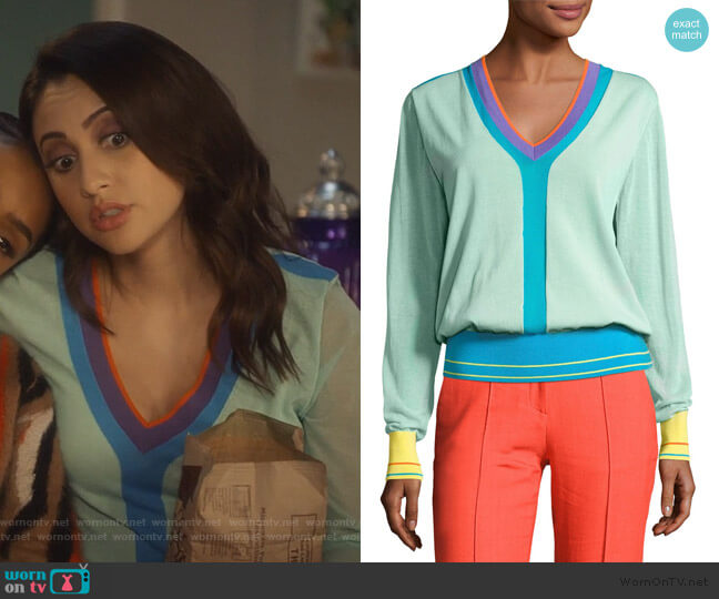 Long-Sleeve V-Neck Pullover Knit Top by Diane von Furstenberg worn by Ana Torres (Francia Raisa) on Grown-ish