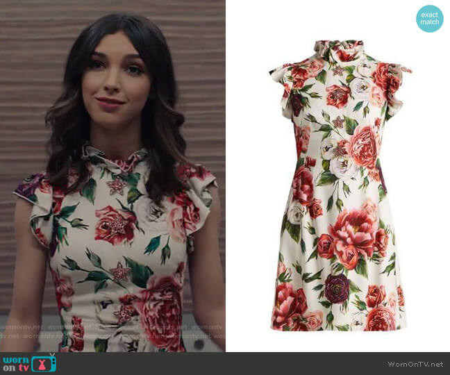 Peony-Print Ruffle-Trimmed Dress by Dolce & Gabbana worn by Alicia Mendoza (Denyse Tontz) on Grand Hotel