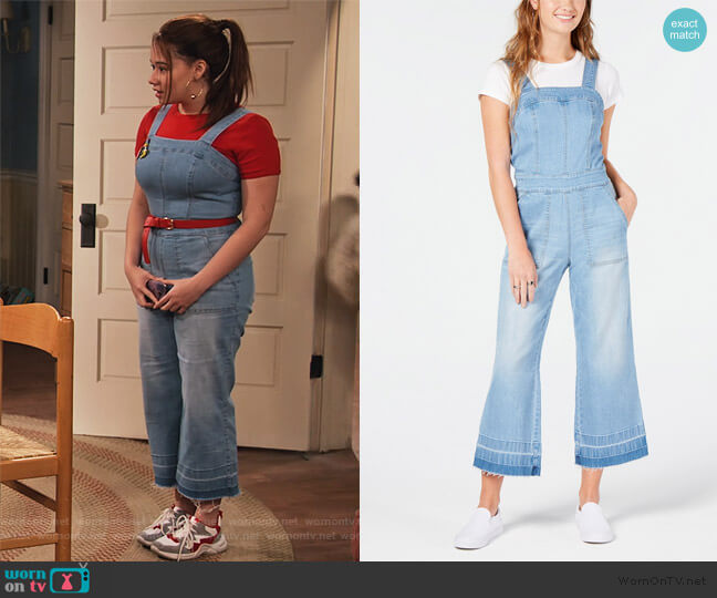 Cropped Wide-Leg Denim Overalls by Dollhouse worn by Jade (Talia Jackson) on Family Reunion