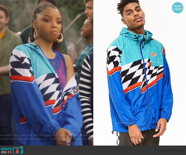 Colorblock jacket by Dope worn by Jazlyn Forster (Chloe Bailey) on Grown-ish