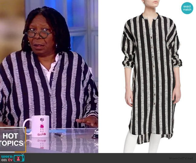 Plus Size Half Herringbone Button-Front Long Tunic by Dubgee by Whoopi worn by Whoopi Goldberg  on The View