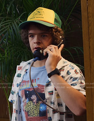 Dustin's Weird Al tee and cassette print shirt on Stranger Things