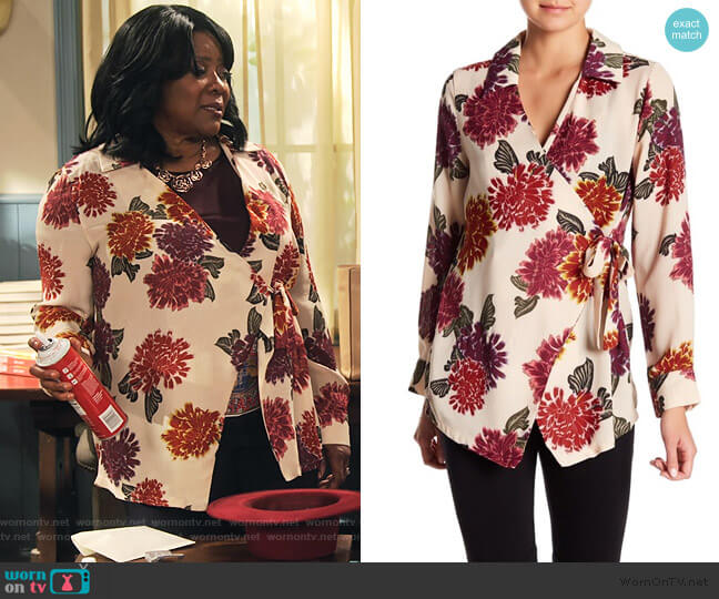 Floral Wrap Blouse by Emelia worn by MDear (Loretta Devine) on Family Reunion