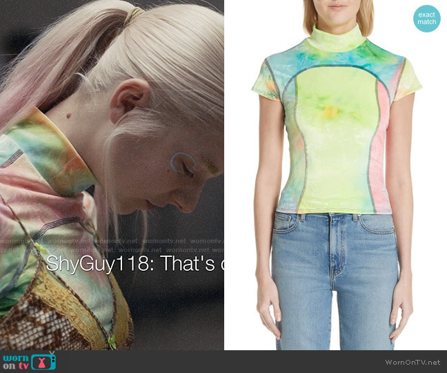 Eckhaus Latta Tie Dye Mock Neck Tee worn by Jules Vaughn (Hunter Schafer) on Euphoria