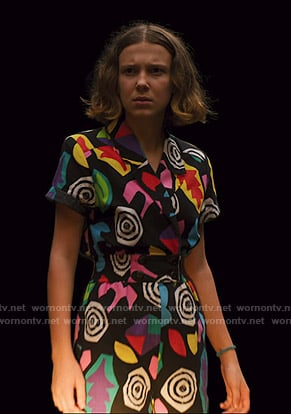 El's black multicolored print romper on Stranger Things