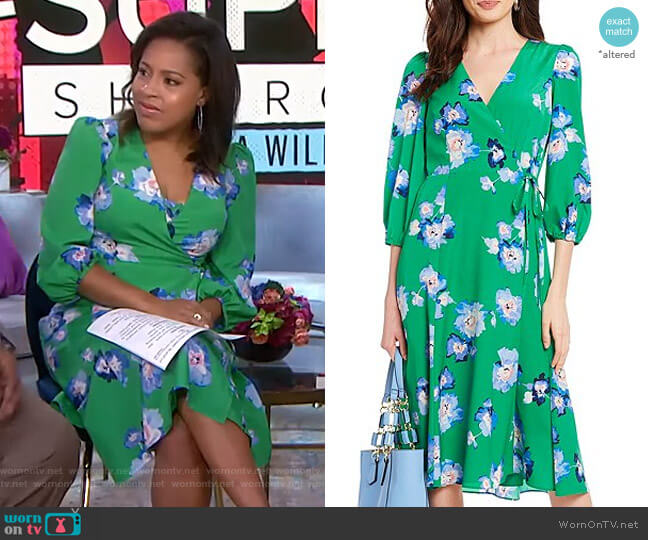 Floral Print Tie Waist Faux Wrap Midi Dress by Eliza J worn by Sheinelle Jones  on Today