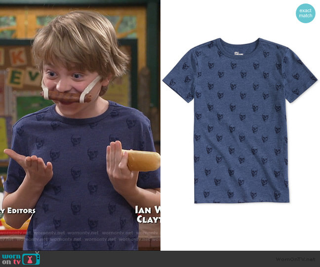 Big Boys Skull Graphic T-Shirt by Epic Threads worn by Finn Sawyer (Will Buie Jr) on Bunkd
