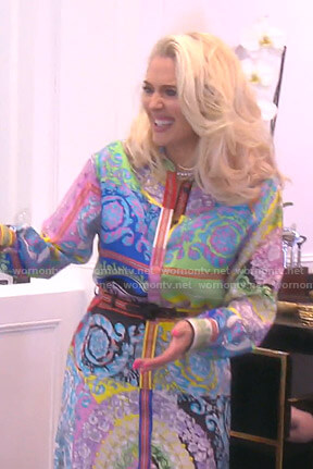 Erika's mixed floral print shirtdress on The Real Housewives of Beverly Hills