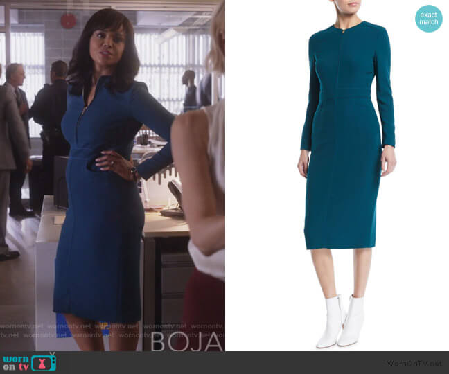 Long-Sleeve Zip-Front Mid-Length Sheath Dress by Escada worn by Jasmine Gooden (Sharon Leal) on Instinct