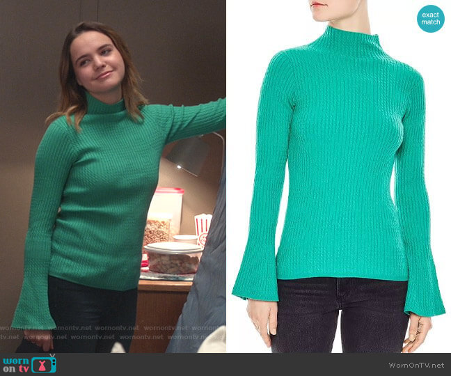 Estelle Flare-Sleeve Cable Knit Sweater by Sandro worn by Grace Russell (Bailee Madison) on Good Witch