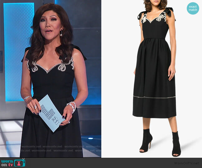 Pearl embellished midi dress by Fendi worn by Julie Chen  on Big Brother