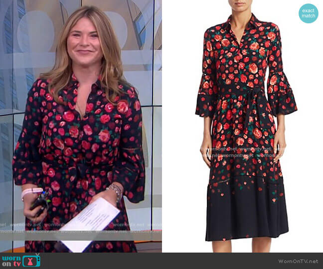 Floral-Print Bell-Sleeve Dress by Lela Rose worn by Jenna Bush Hager  on Today