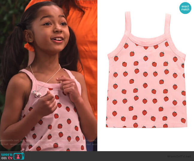 Girls Strawberry Graphic Tank Top by Forever 21 worn by Ami (Jordyn Raya James) on Family Reunion