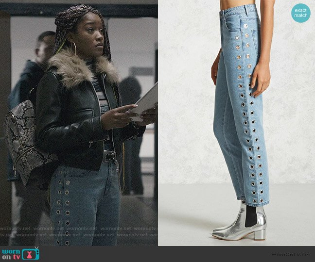 Grommet Side Jeans by Forever 21 worn by Kym (Keke Palmer) on Scream