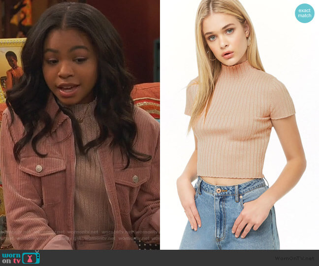 Metallic Ribbed Mock Neck Top by Forever 21 worn by Nia Baxter (Navia Robinson) on Ravens Home