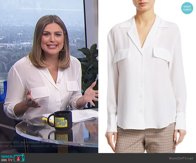 Pocket Silk Button-Down by Frame worn by Carissa Loethen Culiner  on E! News