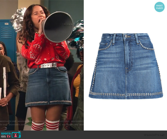 Studded faded denim mini skirt by FRAME worn by Jade (Talia Jackson) on Family Reunion